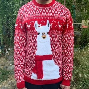33 Degrees Ugly Christmas Sweater Llama Red XL